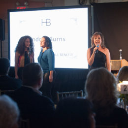 Women onstage at benefit for HB Studio, provider of acting classes in NYC
