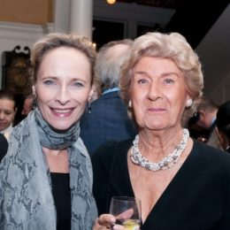 Laila Robins and woman at benefit for HB Studio, provider of acting classes in NYC