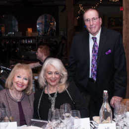 Three people at 70th Anniversary Celebration for HB Studio, provider of NYC acting classes
