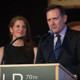 Man and woman speaking at 70th Anniversary Celebration for HB Studio, provider of NYC acting classes