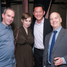 David Sharp (r.) and three additional quests at 70th Anniversary Celebration for HB Studio, provider of NYC acting classes