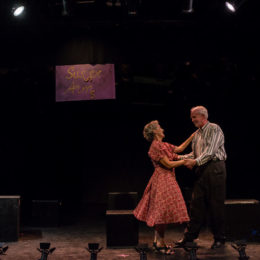Two people dancing on stage at HB Studio