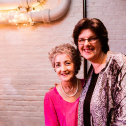 Two women smiling for the camera at HB Studio