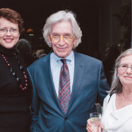 Three people at benefit for HB Studio, provider of acting classes in NYC