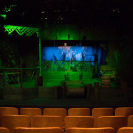 The set of the show is lit up in green lights