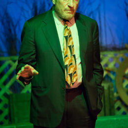 A close-up of Judd Hirsch onstage with one hand out