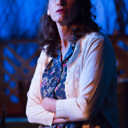 Close-up of Kathryn Danielle onstage at Talley's Folly, a benefit for HB Studio, provider of NYC acting classes