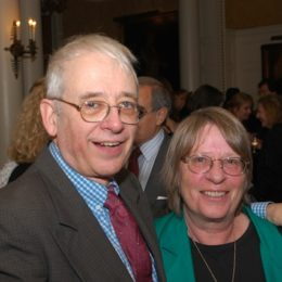 Austin Pendleton and guest at benefit for HB Studio, provider of acting classes in NYC