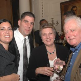 Four people at benefit for HB Studio, provider of acting classes in NYC