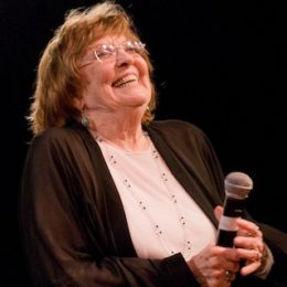 Anne Meara speaking at benefit for HB Studio, provider of acting classes in NYC