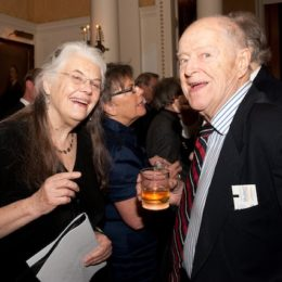 Lois Smith and man laughing at benefit for HB Studio, provider of acting classes in NYC