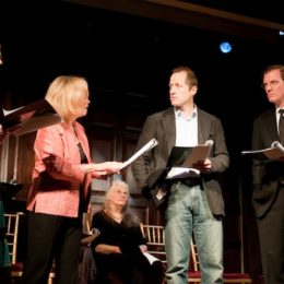 Four people in a reading at benefit for HB Studio, provider of acting classes in NYC