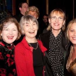 Helen Gallagher, Catherine Siracusa, and two other women at benefit for HB Studio, provider of acting classes in NYC