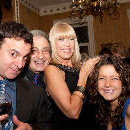 Actor Nick DeSimone with three other people at benefit for HB Studio, provider of acting classes in NYC