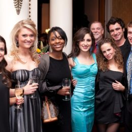 Eight people at at benefit for HB Studio, provider of acting classes in NYC