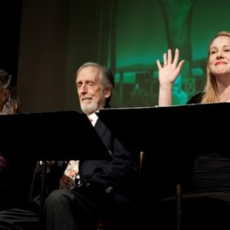 Fritz Weaver and two women reading at benefit for HB Studio, provider of acting classes in NYC