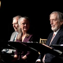 Fritz Weaver and three people reading at benefit for HB Studio, provider of acting classes in NYC