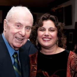 Eric Bentley and woman at benefit for HB Studio, provider of acting classes in NYC
