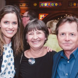 Amanda Peet, Trudy Steibl, and Michael J. Fox at benefit for HB Studio, provider of acting classes in NYC