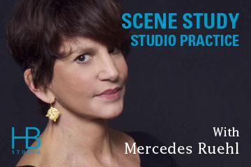"Graphic for Mercedes Ruehl's class, ""Scene Study - Studio Practice."" Apply now!"