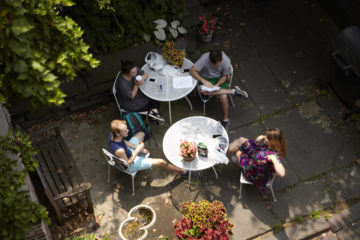 HB Studio Students Enjoy Lunch in the Courtyard