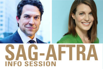 "Headshots of Aaron Satorsky and Phoebe Jonas with text ""SAG-AFTRA Info Session"""