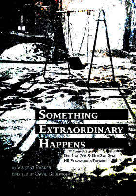 Something Extraordinary Happens postcard image of grainy swingset