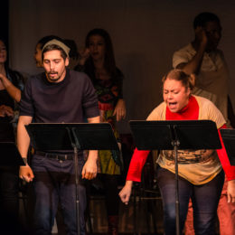 Performers onstage of benefit performance of MARICELA DE LA LUZ LIGHTS THE WORLD, benefitting HB Studio, provider of acting classes in NYC