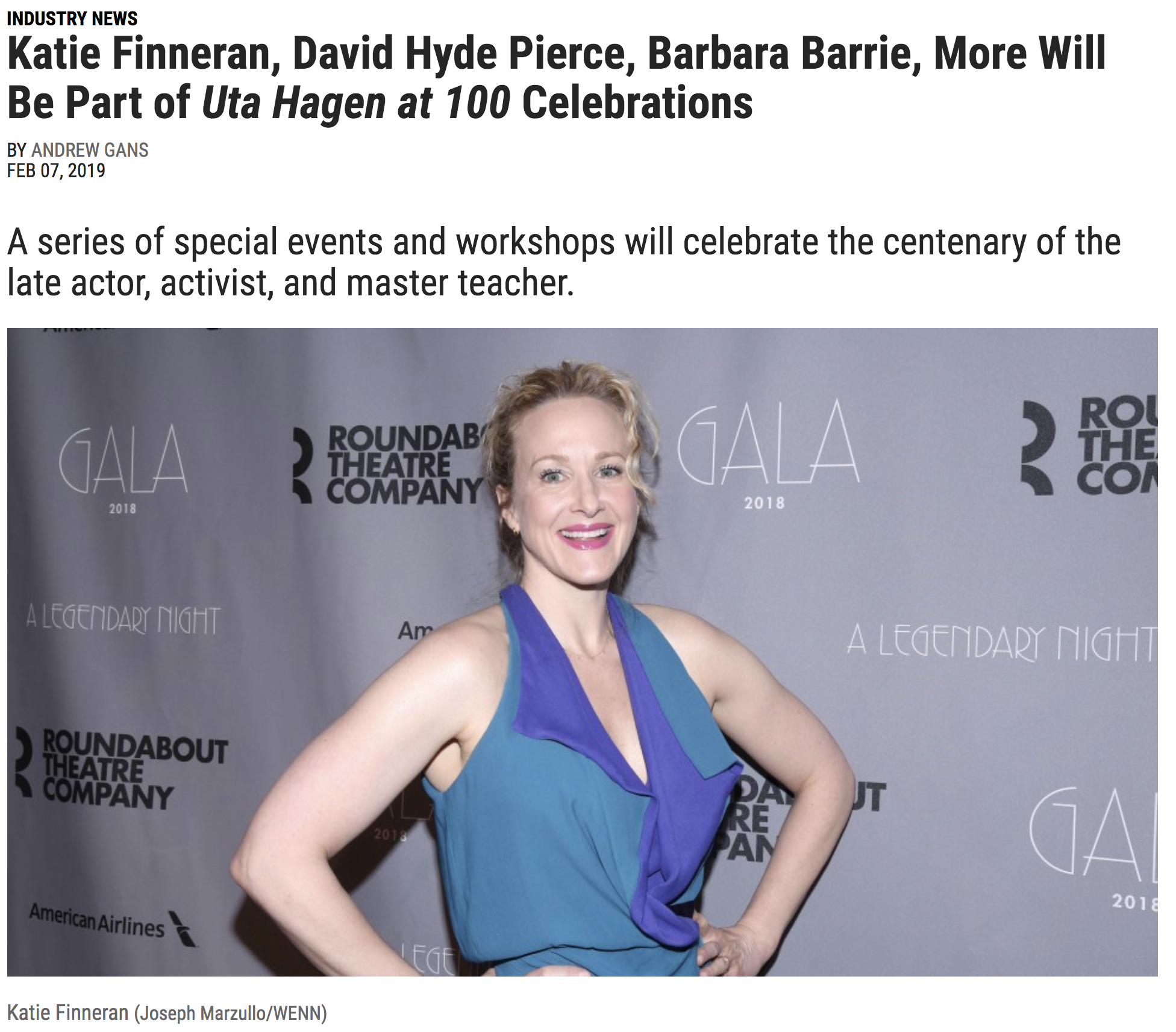 Katie Finneran joining HB Studio's Uta Hagen at 100 Celebration