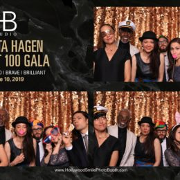 Katherine King, Gus Solomons jr, Nathalie and Greg Assemat Tessandier, and Jessica and Sebastién Douieb having fun in the photo booth at the Uta Hagen at 100 Gala