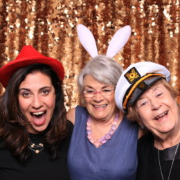 Francesca Ferrara, Katherine Ferrara, and Marlene Mancini having fun in the photo booth at the Uta Hagen at 100 Gala