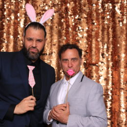 Erik Betancourt and David Deblinger having fun in the photo booth at the Uta Hagen at 100 Gala