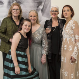 Thyra Teuscher, Letty Ferrer, and Teresa Teuscher with friends at the Uta Hagen at 100 Gala