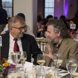 Board member Alan Pally and David Leopold, Creative Director at Al Hirschfeld Foundation, at the Uta Hagen at 100 Gala